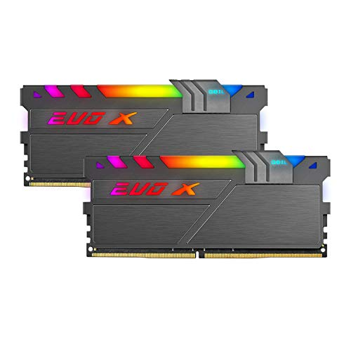 GeIL EVO X II DDR4 RAM, 16GB (8GBx2) 3200MHz 1.35V XMP2.0, Intel/AMD Compatible, Long DIMM High Speed Desktop Memory, Hardcore Immersive Gaming/Multimedia Content Creation/Quality Live Streaming