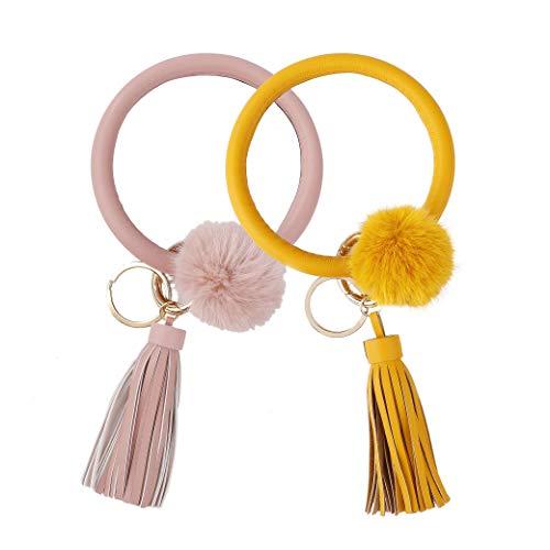 Wristlet Keychain Bangle Keyring Tassel Bracelet Key Holder Large Circle Keyring for Women Girls Gift 2 Pcs Pink & Yellow