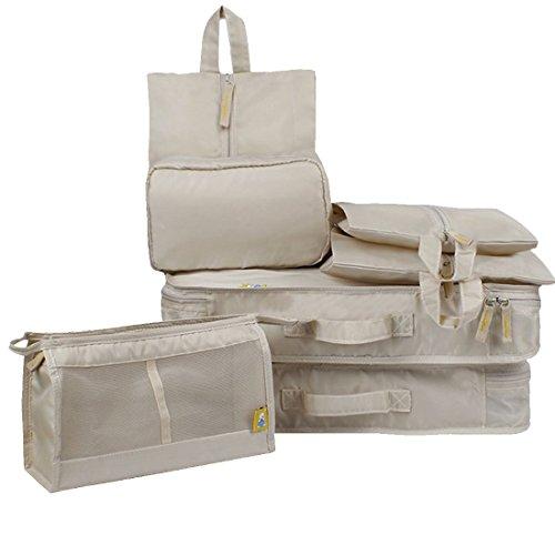 ChicDécoré Kleidertaschen (7 Stück) - Reisetasche in Koffer - Wäschebeutel Schuhbeutel Kosmetik Würfel - Reisegepäck Veranstalter - für Ihren im Urlaub oder Reise