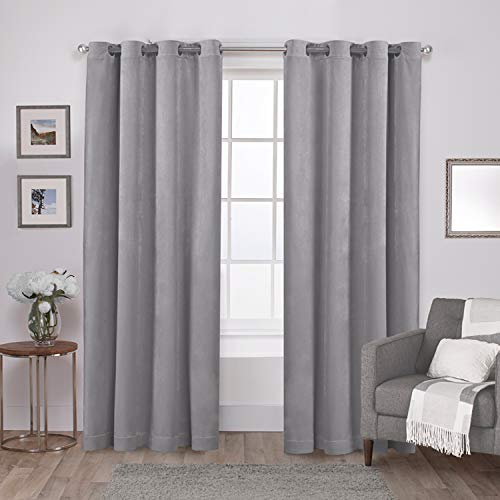 Exclusive Home Curtains EH8196-04 2-108G Velvet Heavyweight Grommet Top Curtain Panel Pair, 54x108, Silver, 2 Count