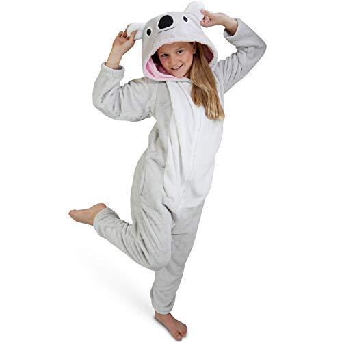 Maybear Onesie Pyjama Anzug Koala für Kinder | Tierkostüm weich, warm | Cosplay Onesie | Verkleidung,Grau,155-165/M