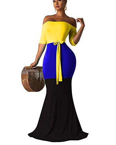 OLUOLIN Maxi Dresses for Women Bodycon Off The Shoulder Triple Color Block Long Dress