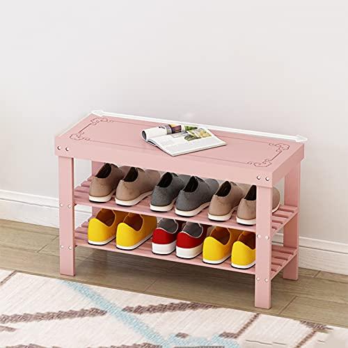 LJKD Zapatero de bambú para Zapatos, Organizador, Estante para Zapatos, gabinete, Soporte para Banco, para Pasillo, Sala de Estar, Dormitorio, Robusto, Natural,Rosado