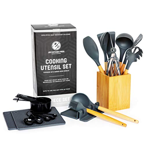 Silicone Cooking Utensil Set Kitchen Utensil Set -25pcs Bamboo Wood Silicone Kitchen Utensils Set-Silicone Utensil Set -Spatula Set -Silicone Utensils Cooking Utensil Set