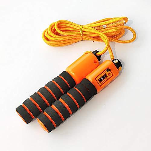 HXCH Cuerda de saltar, equipo de fitness ajustable para niños y adultos con conteo mecánico, adecuado para ejercicio de pérdida de peso, cuerda de saltar naranja