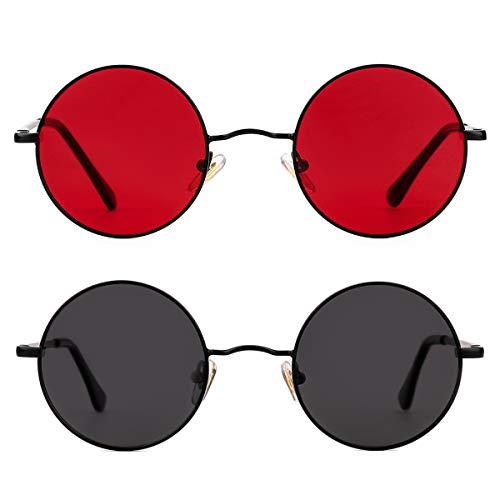 Two-pack Polarized John Lennon Style Round Sunglasses for Men Women Circle Hippie Glasses (Black/Grey+Black/Clear Red)