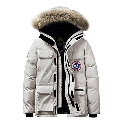 YZY donsjack voor heren, van dik katoen met capuchon en capuchon met capuchon van dikke bontkraag, grote grootte, warme winterjas voor wandelingen