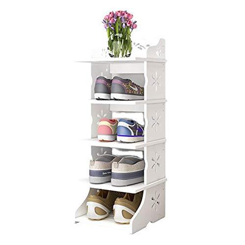 Jklt Práctico zapatero de 5 capas, se puede apilar para ahorrar espacio, para entrada o pasillo, fácil de usar (color: blanco, tamaño: 27 x 25 x 72 cm)