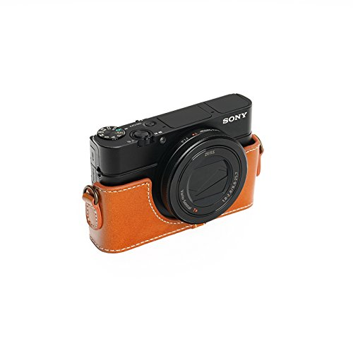 SONY ソニー RX100 II / III / �W/ �X用本革カメラケース ブラウン RX100M2 RX100M3 RX100M4 RX100M5 (カメラケース, ライトブラウン)