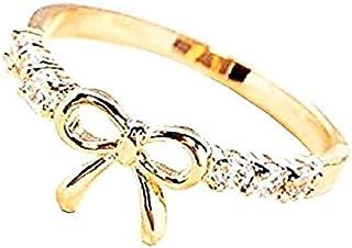 Legisdream Idea Anillo con el Arco y el Rhinestone Rose Gold 7 Jewel Regalo para Ocasiones Importantes