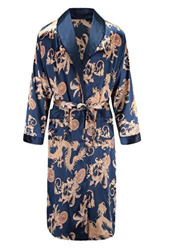 berglink Morgenmantel Herren, Nachthemd Herren Bademantel Tiger Nachthemd Lose Hochzeit Robe Silky Langarm Schlaf Robe Plus Size Home Wear XL Blau