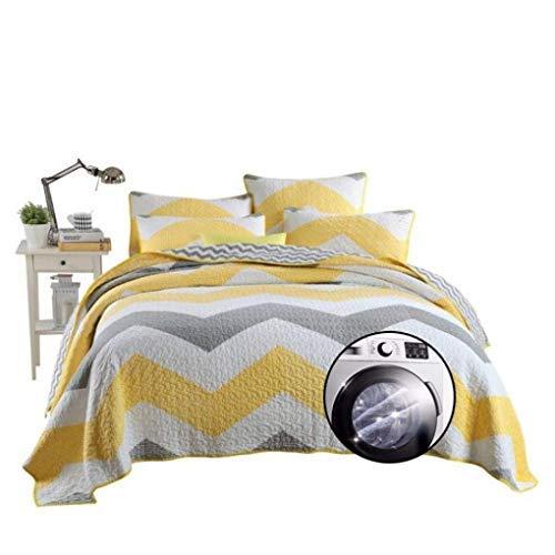 ETDWA Colcha de edredón de patrón geométrico Amarillo con Fundas de Almohada, Colcha de algodón, Funda de Cama de Retazos, Lavable a máquina, 240 * 270 cm