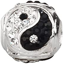 Tai Chi Charm 925 Sterling Silver Yin Yang Charm Gossip Beads fit for DIY Bracelet & Necklace (black & white)
