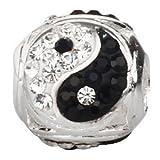Yin Yang - Abalorio de plata de ley 925 con piedra natal de cristal blanco y negro