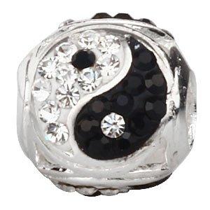 Yin Yang Charm con piedra natal de plata de ley 925 Tai Chi Charm con cristales blancos y negros para pulsera europea