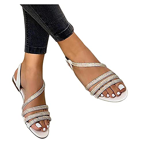 Fishoney - Sandalias con fondo plano de estrás para mujer, zapatos de playa a la moda ocasionales de verano, zapatos informales en forma de almond para mujer, talla 36 – 43 EU