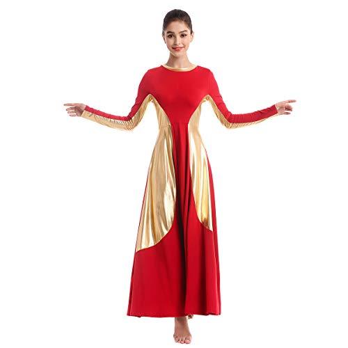 OBEEII Vestido de Danza Ballet para Mujer Litúrgico Alabanza Adoración Danza Adulto Disfraz Elegante Manga Larga Metálico Patchwork Actuación Fiesta Leotardo Gimnasia Carnaval Traje Rojo 2XL