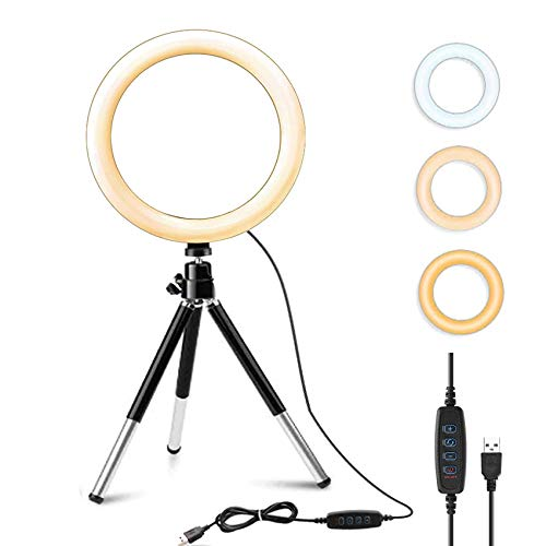 "6"" Selfie Ring Light Without Phone Holder, LED Fill Light for Live Stream, Vlog, Makeup, YouTube, Camera, Photo, Video (6"" Ring Light)"