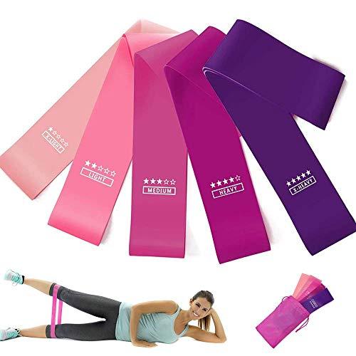 FiiMoo Bandas de Resistencia, [Set de 5] Bandas Elasticas Fitness Látex Natural con 5 Niveles Ejercicios en Piernas para Yoga, Pilates, Crossfit, Estiramientos, Fuerza, Gimnasio en Casa y más