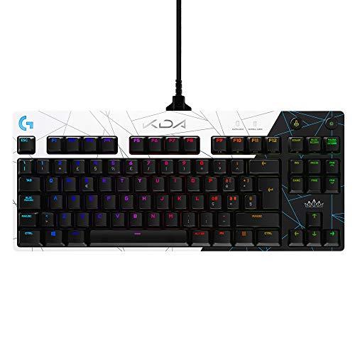 Logitech G PRO K/DA Tastiera Gaming Meccanica Tenkeyless, Micro USB 2.0 Rimovibile, Tasti Retroilluminati, 16,8M colori LIGHTSYNC RGB, Attrezzatura Ufficiale League of Legends, US Layout QWERTY