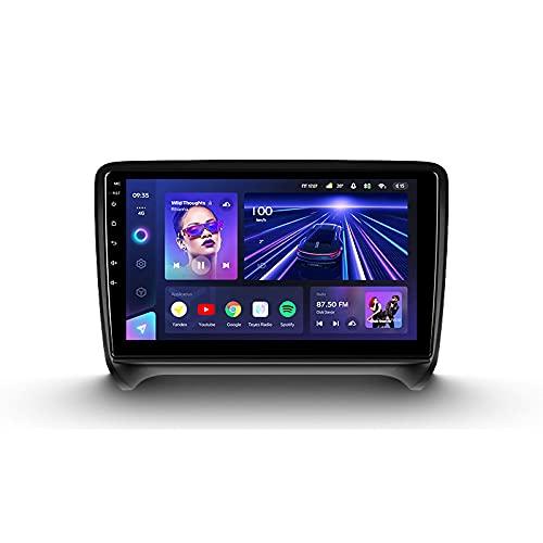 ADMLZQQ Android 10 9'' Car Multimedia 2 DIN para Audi TT 2 2006-2014,con Control del Volante Cámara De Respaldo Enlace De Espejo 4G LTE+5G WiFi 3D Dinámica De Conducción En Tiempo Real,Cc3,6+128G