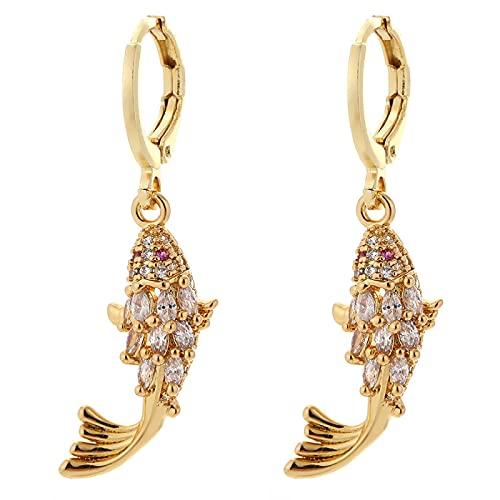 Flor y pez encantos bonitos joyería colgante de oro encantos pendientes collar pulsera encantos colgantes cobre circonita cúbica