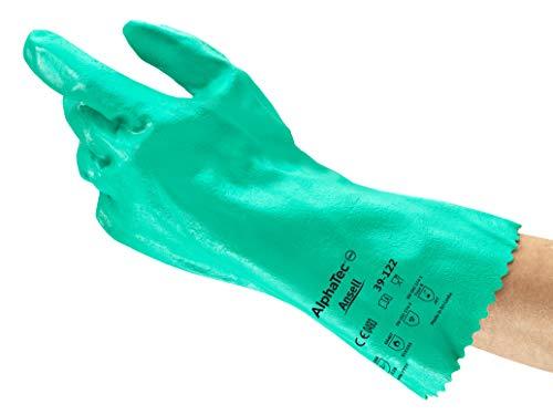 Ansell AlphaTec 39-122 Guantes de Nitrilo para Químicos, Protección Mecánica Intensiva y Química, Mayor Destreza y Agarre, Forma Natural para Magnífico Confort, Tamaño 7 (12 Pares)