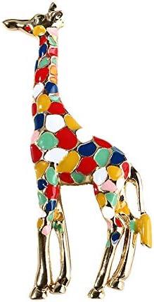Shuohu Fashion Jewelry Giraffe Colorful Enamel Brooch Pin Collar Badge Clothes Jewelry
