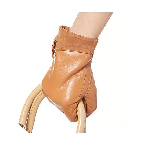 Hochwertige Marke Echtes Leder Handschuhe Frauen Schaffell Handschuh Fashion Trend Echtes Leder Handschuhe, Sand Farbe, M