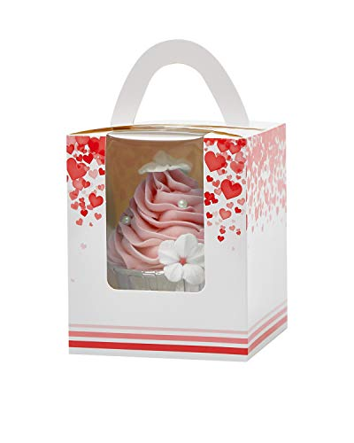 Yotruth Pop-up Bulk Brown Cupcake Boxes Single 100 Sets with Window Insert and Handle (Classic Series)