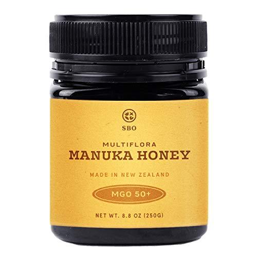 SB Organics Multiflora Manuka Honey MGO 50+ - 8.8 oz Jar of Raw Unfiltered Authentic Premium New Zealand Manuka Honey