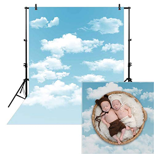 Allenjoy 5x7ft Spring Photography Blue Sky Backdrop White Cloud Newborn Baby Children Kids Cartoon Background Polyester Props Photocall Photobooth Photo Studio