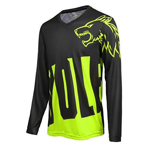 MTB Tops Maglia da ciclismo a maniche lunghe da uomo, comoda e leggera, ad asciugatura rapida e traspirante, Uomo, Verde, L