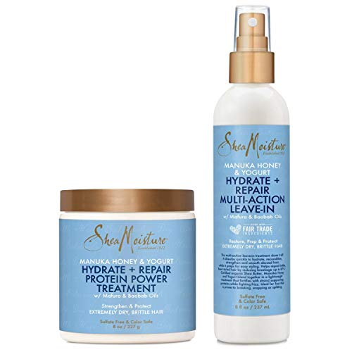 Shea Moisture Manuka Honey & Yogurt Hydrate + Repair Combo Kit, Multi-Action Leave-In Hair Spray 8oz, Protein-Strong Treatment, Deep Conditioning for Hair 8oz