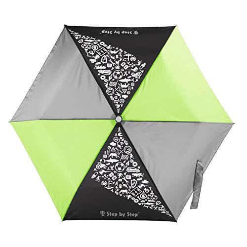 Step by Step Regenschirm 'Green & Grey', grün-grau, Magic Rain Effect, Knirps für Kinder, inkl. Farbwechsel, Tasche und Handschlaufe, Mädchen & Jungen