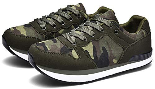 Zapatillas deportivas para mujer y hombre, de camuflaje, transpirables, de lona., verde, 44 EU