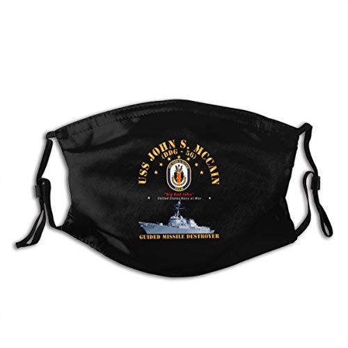 TABUE Mundschutz Gesichtsschutz Zerstörer - USS John S McCain - Schiff Sturmhaube Gesichtsschal Mundschal Wiederverwendbarer Staubschutz mit 2 Filtern