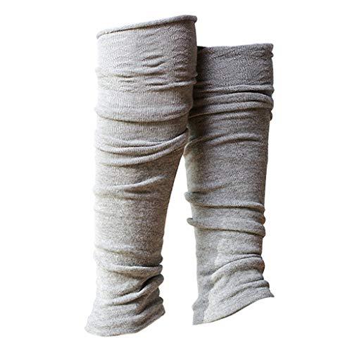 harayaa 1 par de mujeres invierno sobre la rodilla alto sin pies calcetines estribos calentadores de pierna para Yoga Ballet baile casa ejercicio - Gris