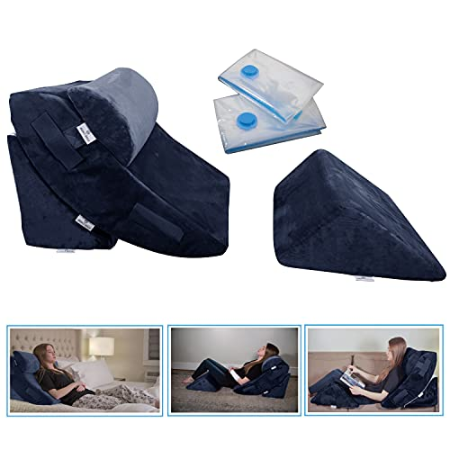 4 Pcs Orthopedic Bed Wedge Pillow Set – Post Surgery, Relaxing, Back & Adjustable Head Support Cushion – Triangle Memory Foam Pillow for Acid Reflux, Sleeping, Reading, Leg Elevation, Snoring Navy