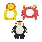 STOBOK 3 Stück Baby Spiegel Spielzeug Bad Spielzeug Lustige Tier Form für Kinder Kleinkind Badespielzeug Wasserspielzeug Zufällige Stil