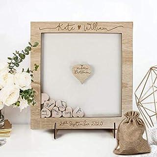 Libro degli ospiti per matrimonio personalizzato legno cornice cuori lanciati vintage nascita Matrimonio Guest Book