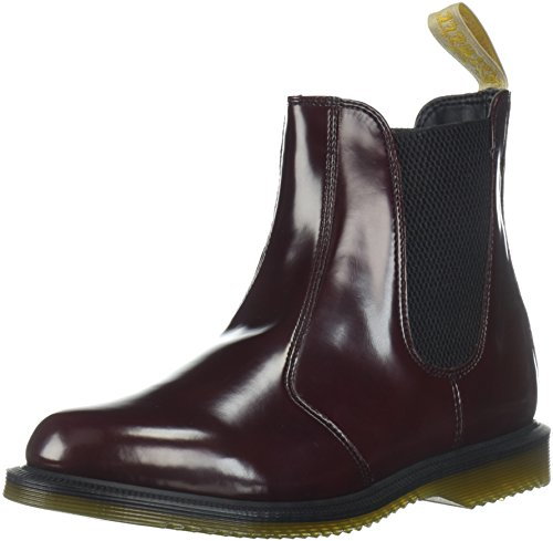 Dr Martens Women's Vegan Flora Pull On Leather Chelsea Boot Cherry Red-Cherry Red-4 Size 4