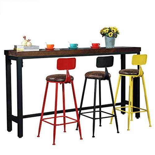 Industrial Style Barkrukken/Smeedijzeren Loft Bar Met Rugleuning En Voetensteun Zwart Metalen Frame En Massief Houten Seat for Counter Café Keuken Ontbijt Pub