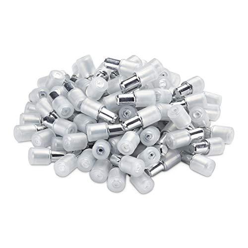 SOTECH 100 Stück Bodenträger für Bohrloch 5 mm gummiert Regalstifte zum einstecken für Holz und Glasböden