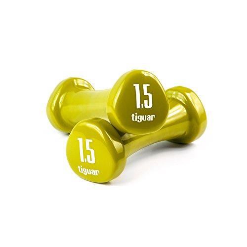 Tiguar Dumbbells - Juego de mancuernas con vinilo Pesos 0,5 kg, 1 kg, 1,5 kg, 2 kg, 3 kg, 4 kg, 5 kg., Oliva 1,5 kg