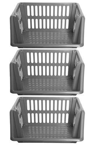 Grande a 3ripiani impilabili cesti portaoggetti Veg rack plastica STACKERS 35cm–argento