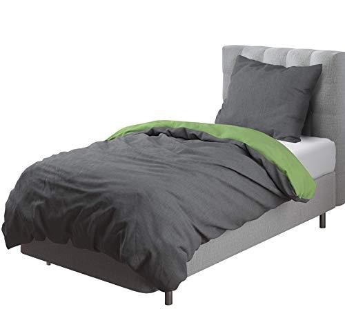 Aminata Kids - Wende-Bettwäsche-Set Uni 135-x-200 cm Damen, Männer & Jugendliche - Baumwolle, grün, dunkel-grau - weiches Material, hochwertige Verarbeitung, Marken-Reißverschluss & Öko-Tex
