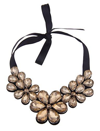 Leslii XXL Damen-Kette Statement Blüten Schwarz Braun gold Filz Glassteine 40cm collier
