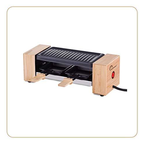 LITTLE BALANCE 8387 Raclette Wood for 2 - Appareil à raclette 1 ou 2 personnes - Grill amovible - Revêtement anti-adhésif - Puissance 350 W - Bambou véritable