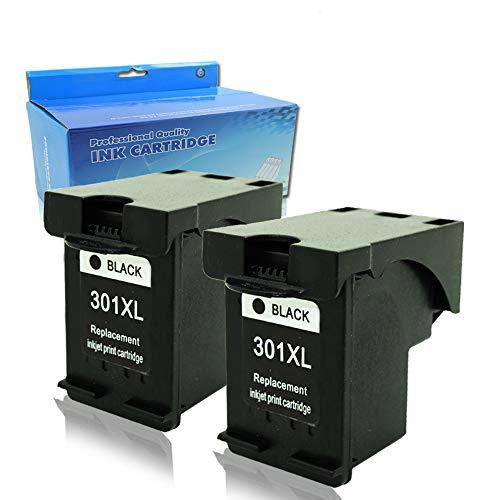 2 cartucce d'inchiostro di ricambio per HP, 301 XL, colore: nero, compatibili con HP DeskJet 1000, 1050, 1050A, 2000, 2050, 2050A, 2054A, 2510, 2540, 3000, 3050, 3050A, 3052A, 3054A, 3055A,